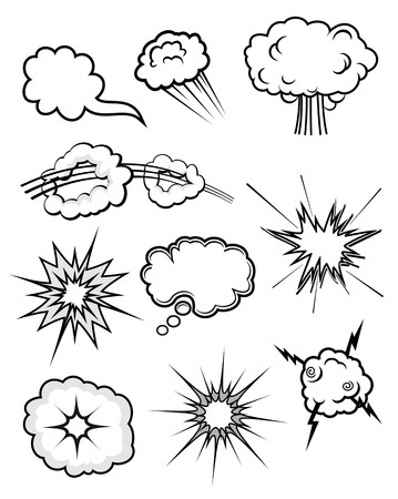black smoke: Set of various explosions isolated on white Illustration