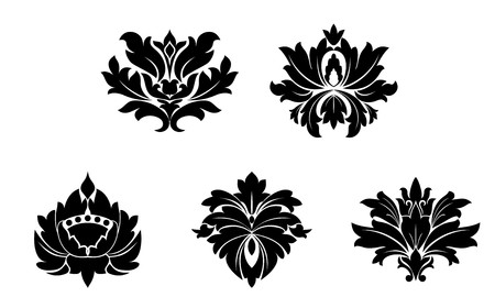 Set of flower patterns isolated on white Vector