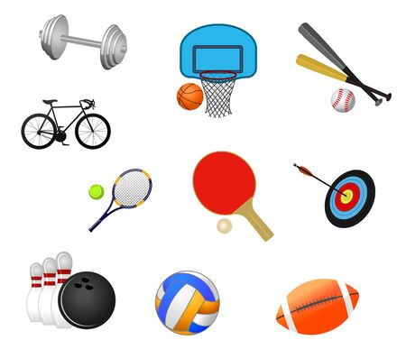 Set of sport symbols isolated on white Vector