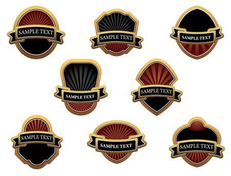 medal ribbon: Set of brown labels for design food and beverages Illustration