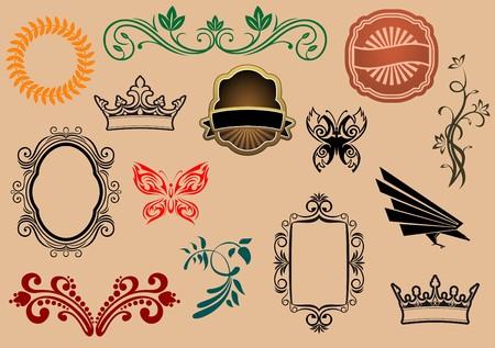 nobility symbol: Set of royal heraldic elements isolated on background