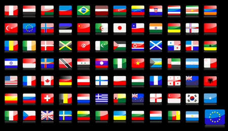 Big set of national flag icons in glossy style Stock Vector - 7544255