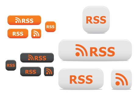 rss: Rss buttons and symbols isolated on white