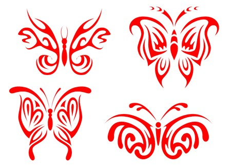 Isolated tattoos of butterfly on white background Stock Vector - 7544246