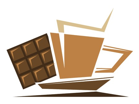 Tea or coffee symbol with chocolate isolated on white Vector
