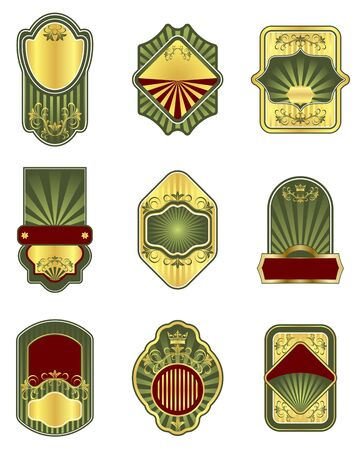 Set of vintage golden labels for design beverages Stock Vector - 7544258