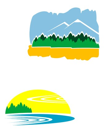 Colorful isolated nature icons isolated on white Vector