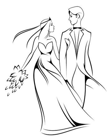 Mariée et le marié isolées sur blanc pour la conception de cérémonie de mariage