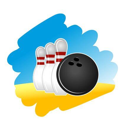 bowling: S�mbolo de bolos sobre fondo blanco para el dise�o