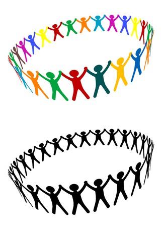 social issues: Arrotondamento dei popoli come un simbolo di amicizia  Vettoriali
