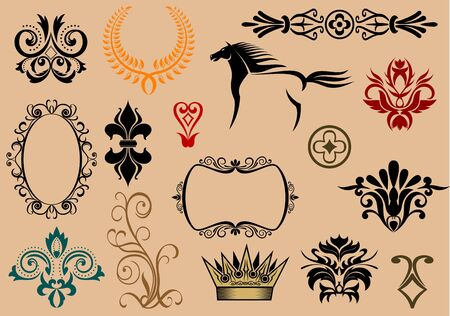 Set of royal heraldic elements isolated on background Vector
