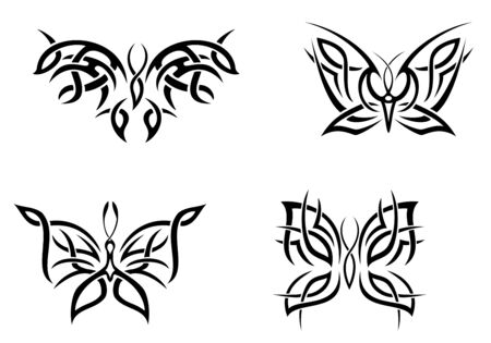 Isolated tattoos of butterfly on white background Stock Vector - 7587956
