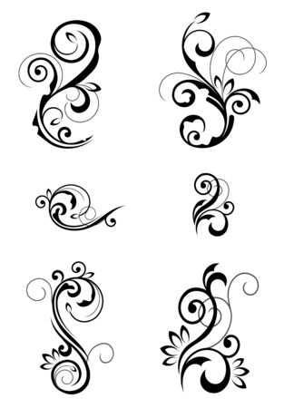 ornate swirls: Floral patterns for design isolated on white