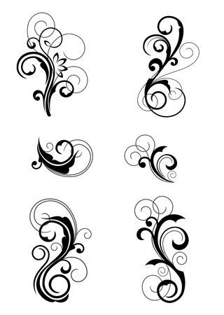scroll background: Floral patterns for design isolated on white