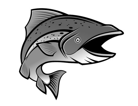 goldfish jump: Fish as a fishing symbol Illustration