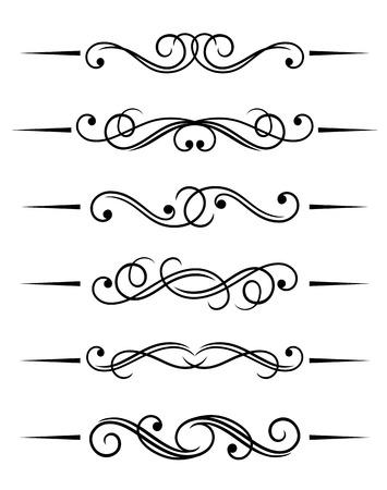 stile liberty: Swirl elementi e monogrammi per design e decorare