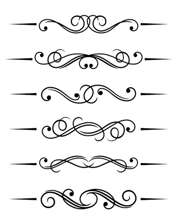 art nouveau border: Swirl elements and monograms for design and decorate Illustration