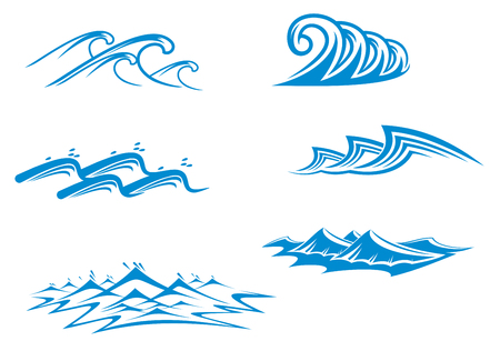 Set of wave symbols for design isolated on white Vector