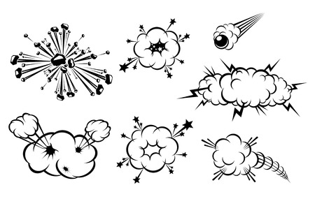 Set of various explosions isolated on white Stock Vector - 7633712