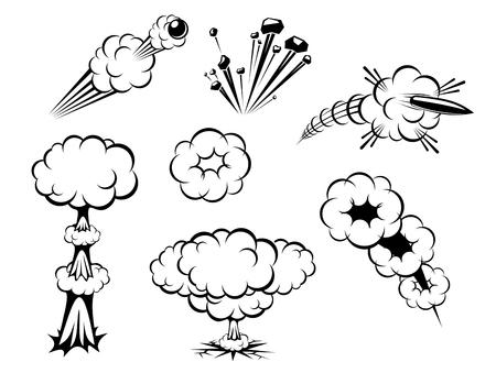nuclear bomb: Conjunto de varias explosiones aisladas sobre blanco  Vectores