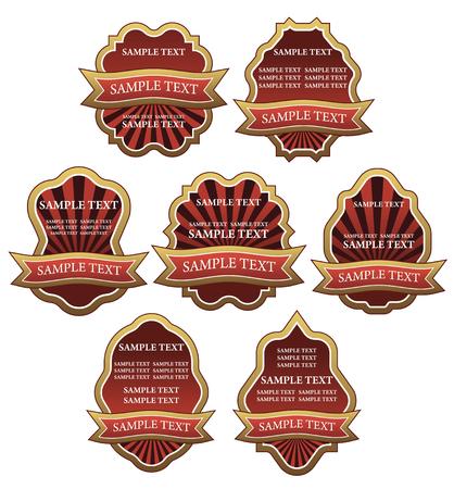 Set of vintage red labels for design food and beverages Vector