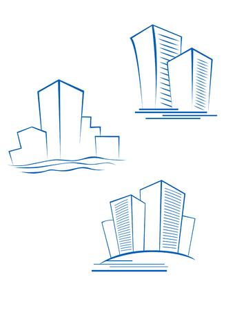 logo batiment: Symboles Immobilier pour la conception isol� sur blanc