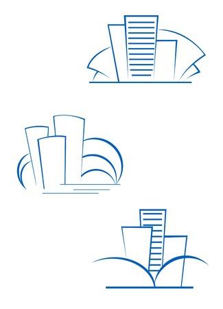 architecture logo: Real estate symbols for design isolated on white Illustration