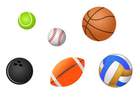gym ball: Set of sport balls isolated on white