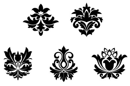 brocade: Flower patterns for design and ornate isolated on white Illustration