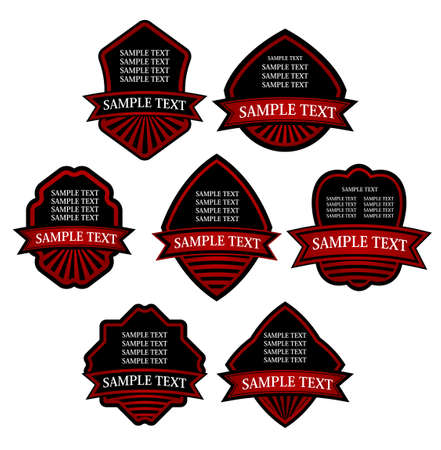 Set of red striped labels for design food and beverages Stock Vector - 7723119