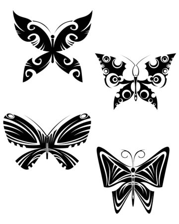 Isolated tattoos of butterfly on white background Stock Vector - 7723103