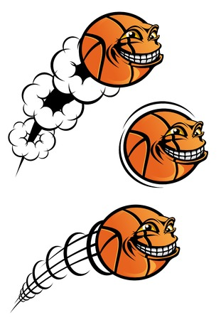 pelota caricatura: Vuelo de baloncesto divertida de bola, aislado en blanco