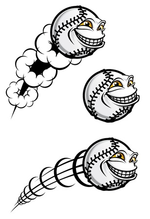baseball cartoon: Flying funny baseball ball isolated on white Illustration