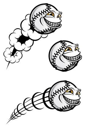 Vuelo pelota de béisbol gracioso aislado en blanco