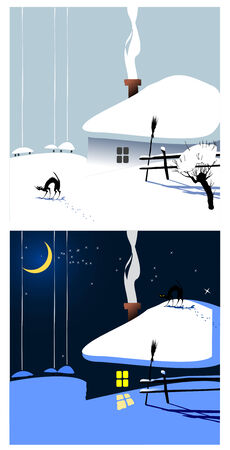 Winter village landscape as a concept of Christmas Vector