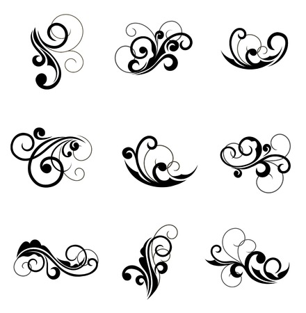scroll border: Floral patterns for design isolated on white