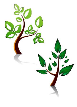 plant design: Set of tree symbols as a signs or emblems