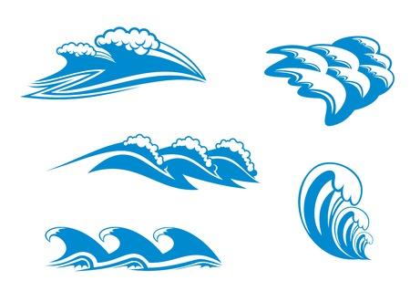 fantasque: Ensemble des symboles de la vague pour conception isol� sur fond blanc