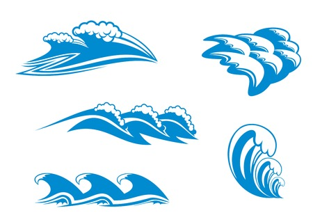 tidal: Set of wave symbols for design isolated on white