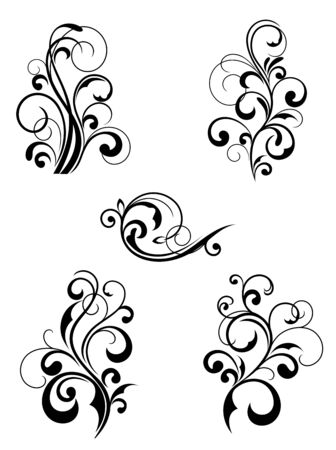 victorian scroll: Floral patterns for design isolated on white