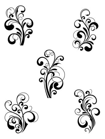Floral patterns for design isolated on white Stock Vector - 7848061