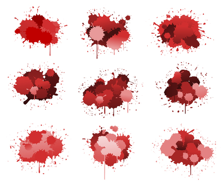 Red ink blobs isolated on white for design Stock Vector - 7848092