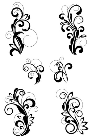 floral scroll: Floral patterns for design isolated on white