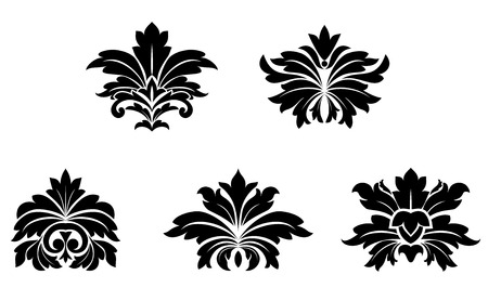 Floral damask patterns isolated on white for design Vector