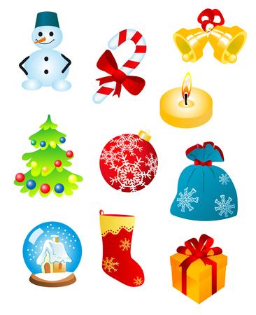 religious celebration: Christmas icons and symbols for design isolated on white