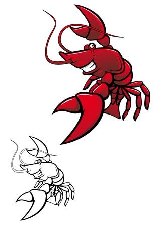Smiling red crayfish or shrimp isolated on white Illustration