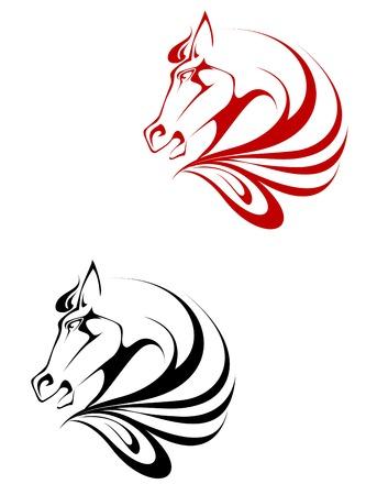 cabeza de caballo: S�mbolo de tatuaje de caballo para dise�o aislado en blanco