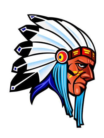 agression: Populations autochtones en costume national pour la conception de tatouage  Illustration