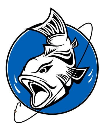 bass: Fish as a fishing symbol for design