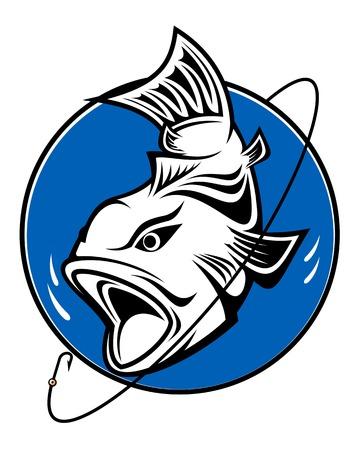 carp fishing: Pesce come un simbolo di pesca per il design